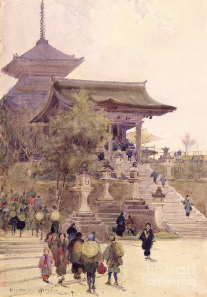 Kimono Painting - The Entrance To The Temple Of Kiyomizu Dera Kyoto by Sir Alfred East