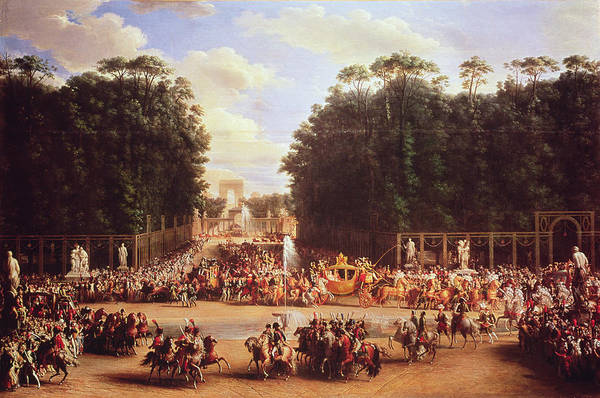 Jardin Photograph - The Entry Of Napoleon And Marie-louise Into The Tuileries Gardens On The Day Of Their Wedding, 2nd by Etienne-Barthelemy Garnier