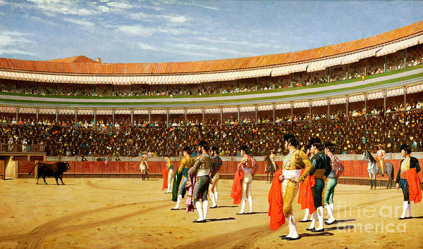 Spectators Painting - The Entry Of The Bull by Jean Leon Gerome
