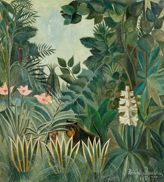 Wall Art - Painting - The Equatorial Jungle by Henri Rousseau