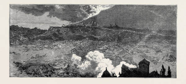 Lava Drawing - The Eruption Of Mount Vesuvius Lava Current by English School