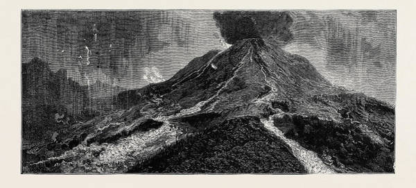 Lava Drawing - The Eruption Of Mount Vesuvius Sketch From The Top by English School