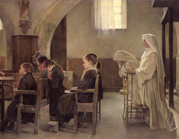 In Service Painting - The Eve Of The First Communion by Henri Alphonse Louis Laurent-Desrousseaux
