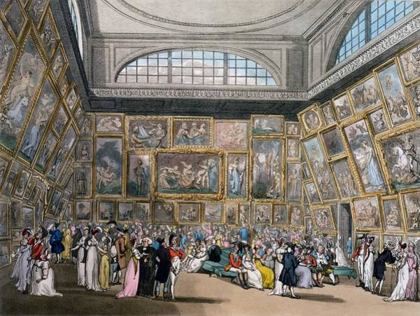 Wall Art - Drawing - The Exhibition Room At Somerset House by Pugin and Rowlandson