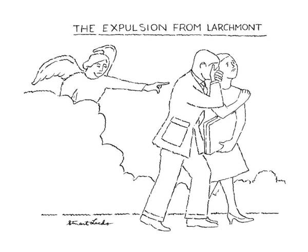 Angels Drawing - The Expulsion From Larchmont by Stuart Leeds