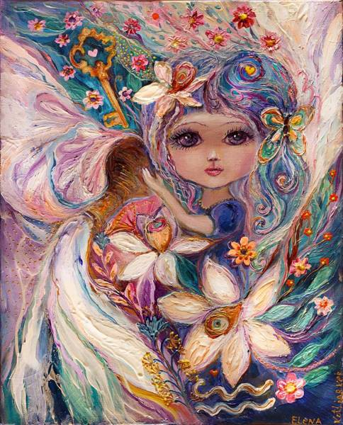 Wall Art - Painting - The Fairies Of Zodiac Series - Aquarius by Elena Kotliarker