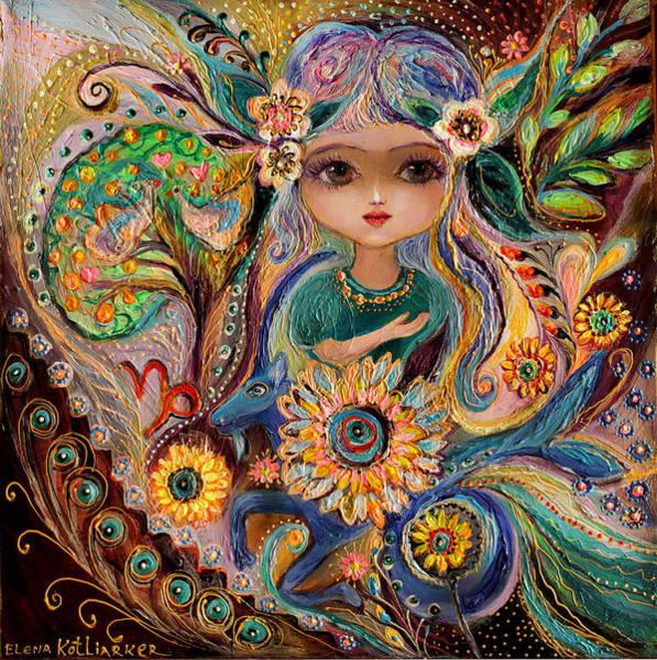 Wall Art - Painting - The Fairies Of Zodiac Series - Capricorn by Elena Kotliarker