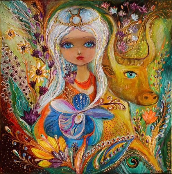 Wall Art - Painting - The Fairies Of Zodiac Series - Taurus by Elena Kotliarker