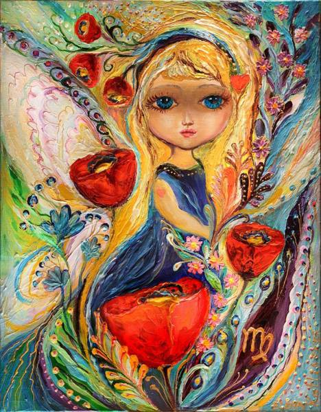 Wall Art - Painting - The Fairies Of Zodiac Series - Virgo by Elena Kotliarker