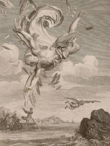 Wings Drawing - The Fall Of Icarus, 1731 by Bernard Picart