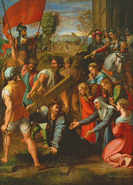 Wall Art - Photograph - The Fall On The Road To Calvary, 1517 Oil On Canvas by Raphael