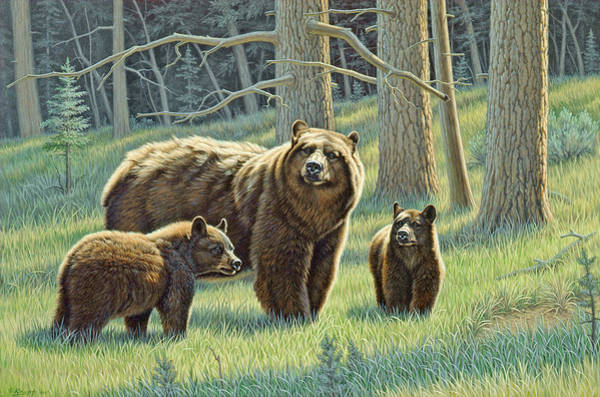 Wall Art - Painting - The Family - Black Bears by Paul Krapf