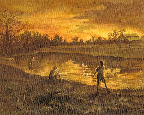 Painting - the Farm Pond by Tim  Joyner