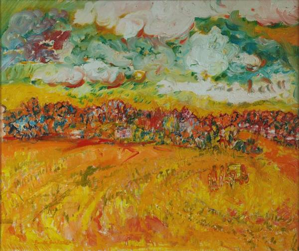 Impasto Photograph - The Farmland Oil On Canvas by Brenda Brin Booker