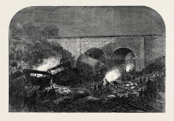 Wall Art - Drawing - The Fatal Accident At New Mills On The Peak Forest Line by English School