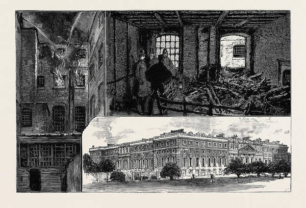 Royal Court Drawing - The Fatal Fire At Hampton Court Palace 1 by English School