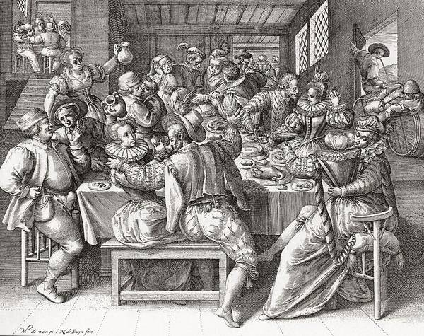 Wall Art - Photograph - The Feast, After A 17th Century Engraving By N. De Bruyn.  From Illustrierte Sittengeschichte Vom by Bridgeman Images