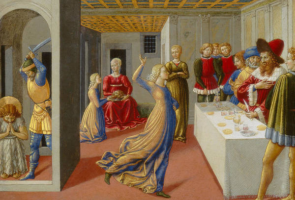 Feast Painting - The Feast Of Herod And The Beheading Of Saint John The Baptist by Benozzo di Lese di Sandro Gozzoli