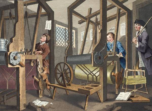 Morality Wall Art - Drawing - The Fellow Prentices At Their Looms by William Hogarth