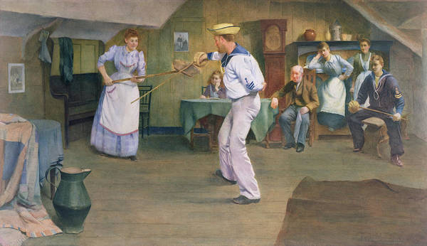 Wall Art - Painting - The Fencing Lesson by Frederick James McNamara Evans
