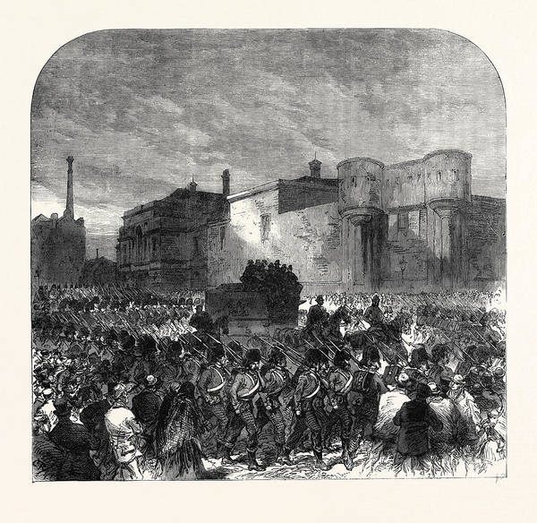 Manchester Drawing - The Fenian Trials At Manchester The Prisoners Leaving by English School