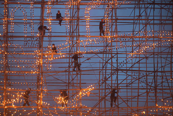 Scaffold Photograph - The Festival Runs Ship Fire by Sarawut Intarob