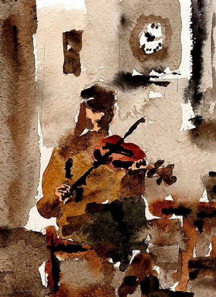 Painting - The Fiddler by Val Byrne