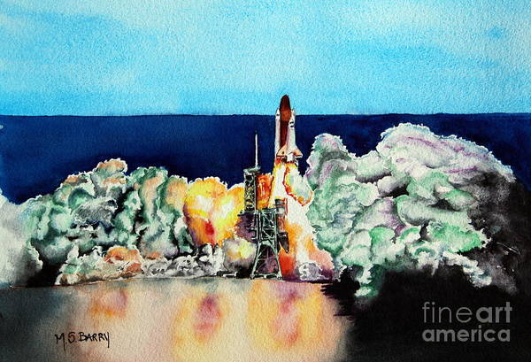 Space Shuttle Painting - The Final Countdown by Maria Barry