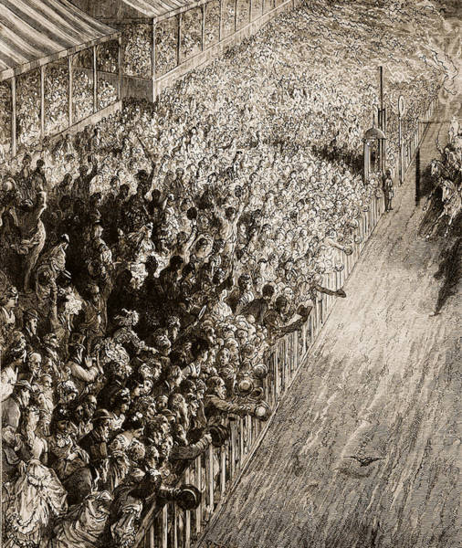 Spectators Painting - The Finishing Line Of The Derby by Gustave Dore