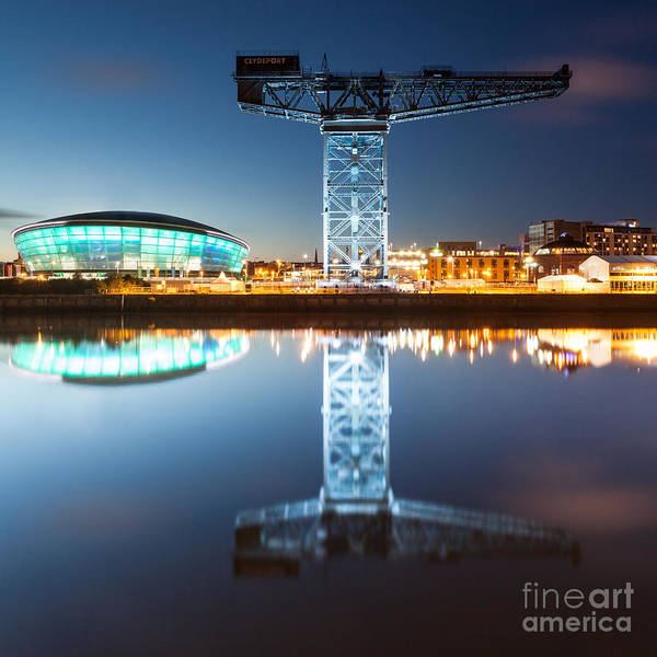 Wall Art - Photograph - The Finnieston Crane And Hydro Light Blue by John Farnan