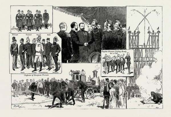 Brigade Drawing - The Fire Brigade Congress At Paris, France by Litz Collection