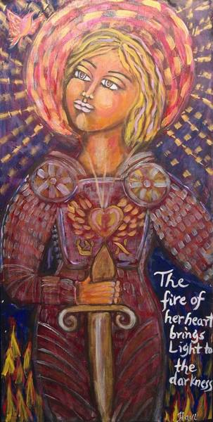 Flaming Sword Painting - The Fire Of Her Heart by Havi Mandell