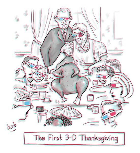 Holiday Drawing - The First 3-d Thanksgiving.  A Turkey Is Dancing by Bob Eckstein
