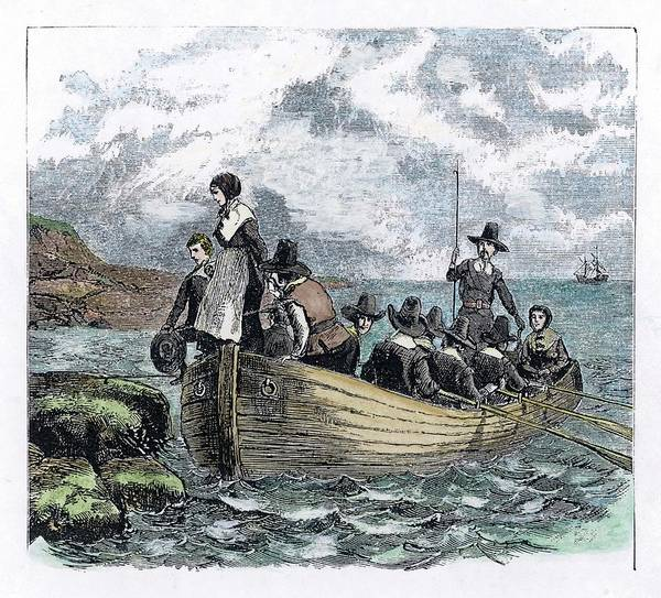 Wall Art - Drawing - The First Boat-load Of 'pilgrims' Lands by Mary Evans Picture Library