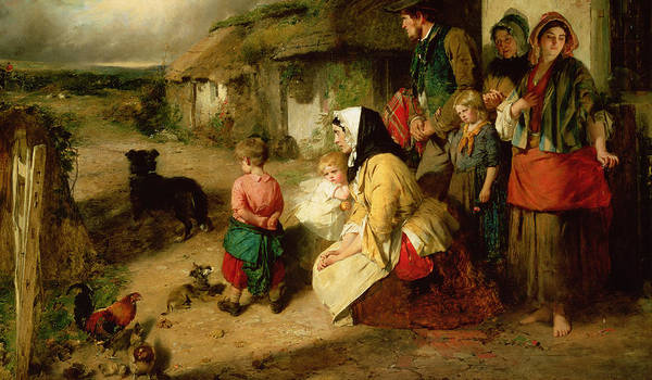 Poetry Painting - The First Break In The Family by Thomas Faed
