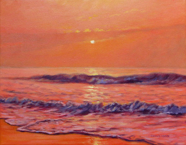 Outer Banks Painting - The First Day-sunrise On The Beach by Bonnie Mason