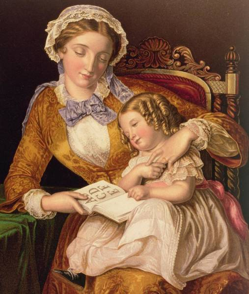 Schooling Wall Art - Painting - The First Lesson by Samuel Baruch Halle