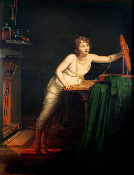 Dressing Up Photograph - The First Sense Of Coquetry, 1804 Oil On Canvas by Pauline Auzou