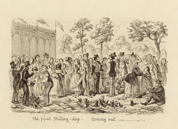 Wall Art - Drawing - The First Shilling Day -  Coming Out by Mary Evans Picture Library