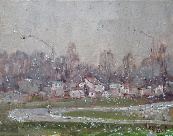 Wall Art - Painting - The First Snowflakes Of The Season  by Ylli Haruni