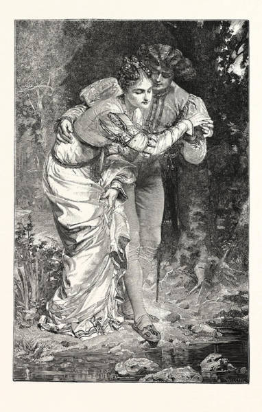 Wall Art - Drawing - The First Step, Engraving 1876 by Vely, Anatole (1838-1882), French
