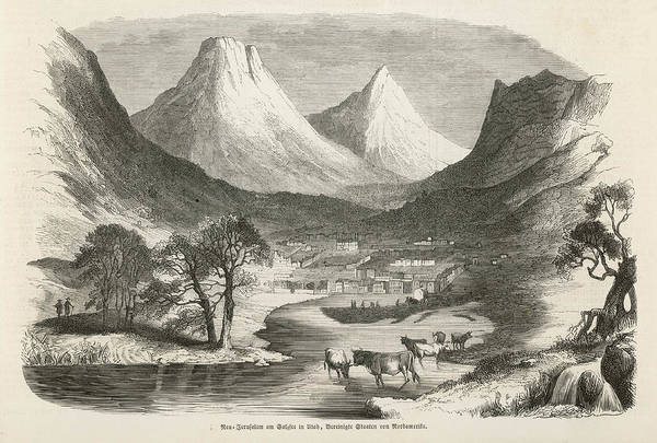 Wall Art - Drawing - The First Township At Salt Lake City by Mary Evans Picture Library