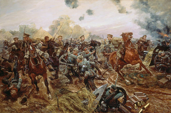 Wounded Soldier Painting - The First Vc Of The European War, 1914 by Richard Caton II Woodville