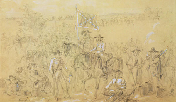 Confederate Soldier Drawing - The First Virginia Cavalry At A Halt by Alfred R Waud