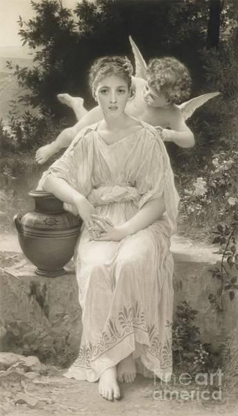 Garden Wall Drawing - The First Whisper Of Love After Bouguereau by  John Douglas Miller