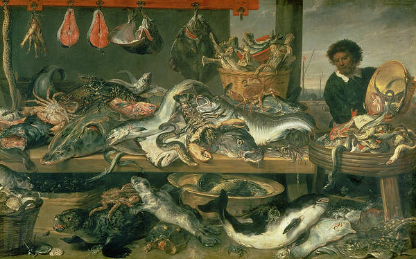 Seafood Photograph - The Fish Market, 1618-21 Oil On Canvas by Frans Snyders or Snijders
