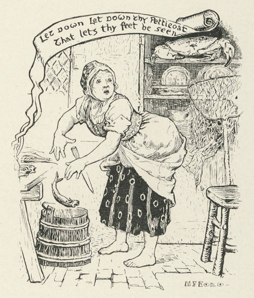 Wall Art - Drawing - The Fisherman's Old Wife Is  Astonished by Mary Evans Picture Library