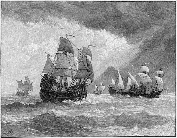 Trinidad Drawing - The Five Vessels Of His Fleet  - by Mary Evans Picture Library