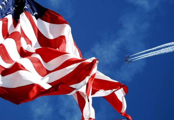A-18 Hornet Wall Art - Photograph - The Flag And The Blue Angels by Mountain Dreams