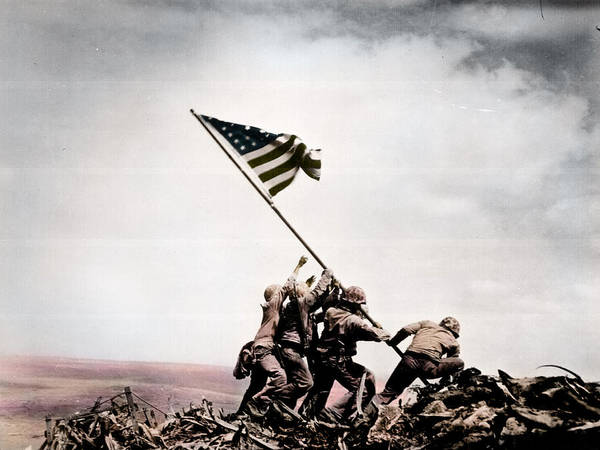 Raising Wall Art - Photograph - The Flag Raising At Iwo Jima World War II by Celestial Images